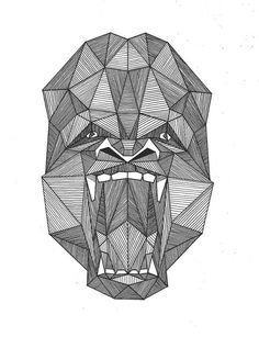 Amazing grey-ink geometric crying gorilla muzzle tattoo design