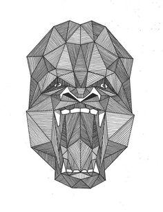 Amazing grey-ink geometric crying gorilla muzzle tattoo design