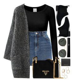 """Prague"" by monmondefou ❤ liked on Polyvore featuring Topshop, Prada, TOMS, Ray-Ban, Michael Kors and black"