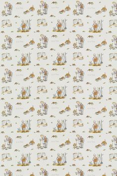 Esio Trot (Esio Trot) - Roald Dahl Fabrics - A delightful cotton fabric with beautiful Quentin Blake illustrations from the Roald Dahl Esio Trot story. In a warm sand colour on white, with lots and lots of Tortoise characters.