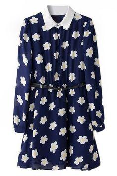 花柄デュアル トーン ベルト ネイビー ブルー ドレス
