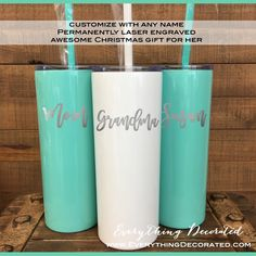 Christmas Gift for her - Perfect for sipping your favorite drink all day long. Christmas Gifts For Girlfriend, Birthday Gifts For Girlfriend, Christmas Gifts For Her, Personalized Gifts For Her, Customized Gifts, Custom Gifts, Easy Handmade Gifts, Easy Gifts, Gifts For Teens