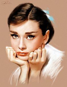 Audrey Hepburn portrait painted by digital pastels and chalks of Corel painter program Audrey Hepburn Kunst, Audrey Hepburn Style, Audrey Hepburn Tattoo, Audrey Hepburn Painting, Portraits Pastel, Film Icon, Corel Painter, Celebrity Portraits, Portrait Art