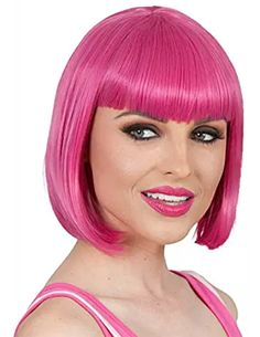 Short Bob Wigs Purple Wig for Women with Bangs Straight Synthetic Wig Natural As Real Hair 12with Wig Cap BU027PR