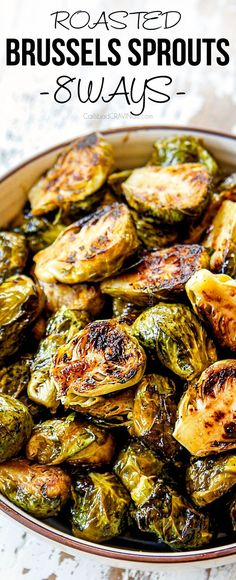 These Roasted Brussels Sprouts are crispy beautifully caramelized extremely versatile shockingly addictive healthy and EASY! This recipe shows you how to make classic Brussels Sprouts Honey Sriracha Balsamic Parmesan Lemon Cheesy and more! Crispy Brussel Sprouts, Roasted Sprouts, Cooking Brussel Sprouts, Healthy Brussel Sprout Recipes, Best Brussel Sprout Recipe, Roasted Brussel Sprouts Recipes, Honey Sriracha Brussel Sprouts, Gourmet, Recipes