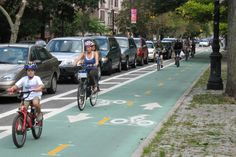 The two-way, protected bike lane on Brooklyn's Prospect Park West, a project that my advocacy helped make happen. Great urban interface design, in my book.