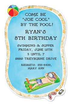 Pool party invite idea