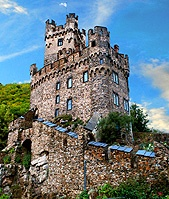 Castle Sooneck Tower on the Rhine River Near Bingen