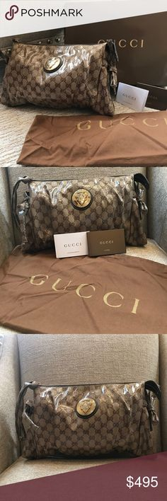 Authentic Gucci Brown GG Crystal Hysteria Clutch This authentic, coveted brown Gucci clutch is from the Hysteria collection, launched in fall/winter 2008.  It is made from brown Crystal GG canvas and has gold-tone hardware. This beautiful bag has a gold Gucci crest on the front and a zipper closure at top.  Other details include side ties, a flat wrist strap and a fully lined interior with two open and one zippered pocket.  This bag has been used twice, is from a pet-free and smoke-free home…