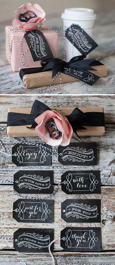 Chalkboard tags make. Printable Chalkboard Gift Tags for Any Occasion. Chalkboard Tags, Vintage Chalkboard, Chalkboard Wedding, Chalk It Up, Ideias Diy, Gift Tags Printable, Printable Vintage, Pretty Packaging, Packaging Ideas