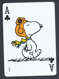 Snoopy Peanuts playing card single swap ace of clubs - 1 card