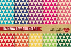Rainbow color TriangleDigital Background Sheets::Patterns with…