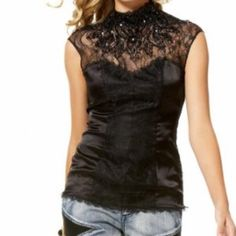 Bebe Embellished Lace Top Like new.  No stones missing. Open back. bebe Tops Blouses