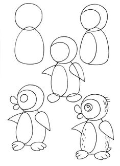 how to draw a cartoon penguin art for kids