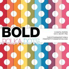 Free Digital Scrapbooking Paper: Bold Polka Dots
