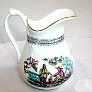 Bridgwood Cream Jug, Opium Smoker, English Chinoiserie, Antique 19th C