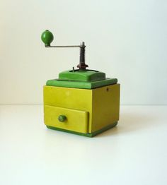 VINTAGE COFFEE GRINDER Green coffee grinder by RedChiliPeppers, $44.00