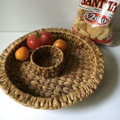 "Vintage Chip and Dip wicker tray 15""round,  Woven Appetizer basket, Luau Party tray, Country kitchen 2 sectioned hostess server, Patio Party by KyriesTreasureChest on Etsy"