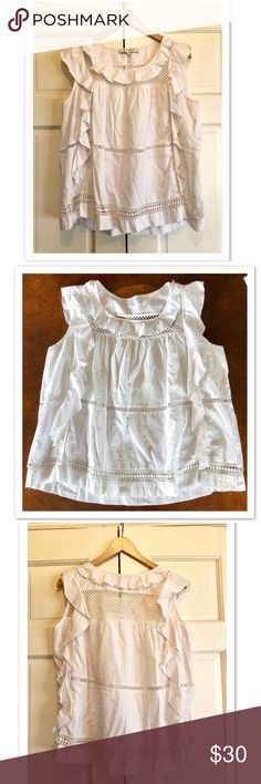 636575c51441e Anthropologie Hiche white blouse Hiche from Anthropologie cute white  sleeveless blouse with ruffles.