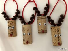Set of 4 Wine Cork Rudolph the Reindeer Christmas tree Ornaments Holiday Gift Tags xmas decorations R1
