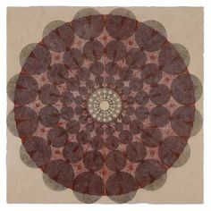 Mary Judge: monoprint created using a single collographic shape that is printed numerous times until the rosette is complete