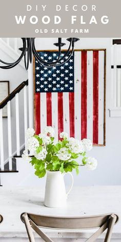 This darling DIY Wood Framed Flag is perfect for all patriotic holidays, summer, and the whole year! Easy Diy Crafts, Diy Craft Projects, Pallet Projects, Farmhouse Style Decorating, Farmhouse Decor, Farmhouse Ideas, Diy Home, Home Decor, Blue Crafts