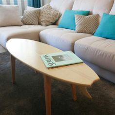 The surfboard coffee table at our client home. Cool christmas gift for surfers.