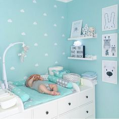 Nursery Room Boy Inspiration Mint Grey The po. Nursery Room Boy I Baby Boy Room Decor, Baby Room Design, Baby Bedroom, Baby Boy Rooms, Baby Boy Nurseries, Baby Cribs, Nursery Room, Girl Room, Mint Nursery