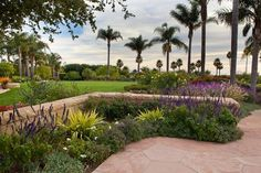 Stone Wall, Blooming Plants, Palm Trees Retaining and Landscape Wall Down to Earth Landscapes Santa Barbara, CA