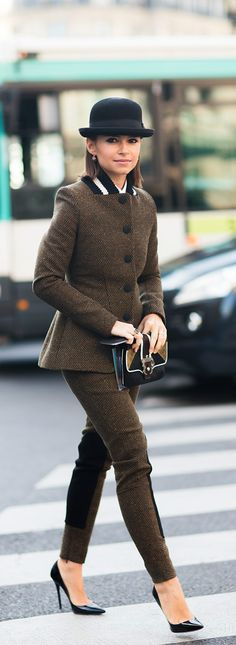 Miroslava Duma - winter chic. The juxtoposition of the modern suit and that lettermans style knit collar. I'M DYING.