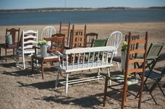 Adding chairs (even if they are mismatched!) or benches to your wedding ceremony arrangement gives your wedding a casual, fall look. Mismatched Chairs, Wedding Chairs, Wedding Seating, Wedding Table, Wedding Arrangements, Table Arrangements, Outdoor Furniture Sets, Outdoor Decor, Outdoor Ideas