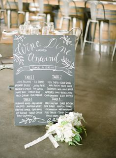 Chalkboard Table Sign: http://www.stylemepretty.com/2014/08/15/wine-dine-welcome-dinner/ | Photography: Laura Ivanova Photography - http://www.lauraivanova.com/