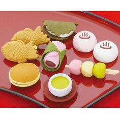 Made in Japan, bright and cute erasers in the theme of classic Japanese Sweets like Dango, sweet dumplings, mochi and Matcha tea.They are made by Iwako, a Japanese company who specialize in producing
