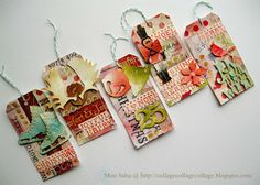 Christmas tags by Mou Saha using various Sizzix dies, embossing folder, and Big Shot machine.