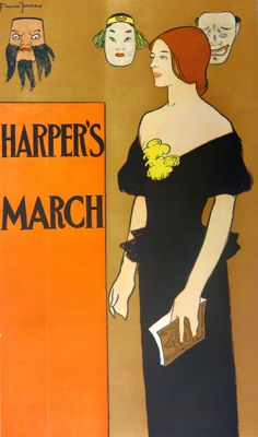 Harper's Magazine (March, 1896). Illustration by Edward Penfield (American, 1866-1925). New York Historical Society, Prints, Photographs, and Architectural Collections.During the 1890s, Harper's Magazine began to feature poster-like covers that embraced fashionable European trends influenced by Art Nouveau and in vogue French painters. Penfield designed a series of monthly posters for Harper's that won enormous critical acclaim.