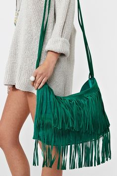 Sienna Fringe Bag - Emerald