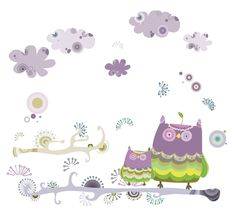 Wall Decals - YYone Light Purple Night Owl and Clouds in Riotous Profusion Lovely Wall Sticker for Kids Room Decor -