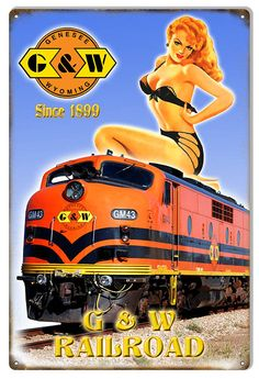 G & W 1899 Railroad Pinup Girl Sign, Aged Style Aluminum Metal Sign, USA Made Vintage Style Retro Garage Art RG7439 by HomeDecorGarageArt on Etsy