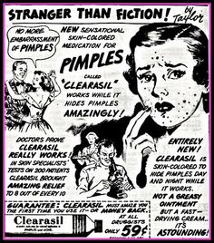 pimples. Vintage ad to acne
