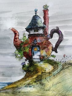 English Breakfast tea House - I want this for my home!! #art #teapot