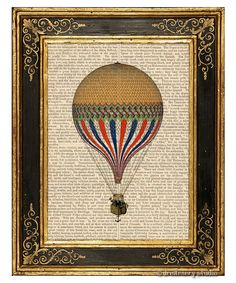 Yellow Hot Air Balloon Art Print on Antique Book Page Vintage Illustration Fly | eBay