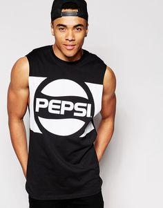 Camiseta larga sin mangas con sisas caídas y estampado Pepsi de. PepsiShirt  JacketAsos ...