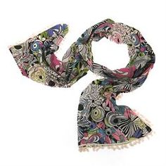 Lettuce Purple Jungle Fever Scarf £18.00 (inc VAT)  Jungle Fever scarf from Lettuce.  Bold printed flowery cotton fabric in purple, pink, green, blue, white and black http://www.melburygallery.co.uk/shop/scarves/lettuce-purple-jungle-fever-scarf.htm