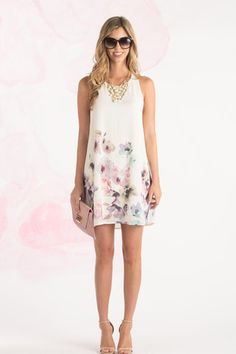 Gracie Cream Floral Bottom Shift Dress