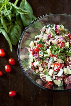 Cucumber Tomato Feta Salad--this is fabulous, especially with fresh garden produce!  You may be tempted to delete the fresh basil, but don't--it makes the dish!  #salad  #tomato  #cucumber