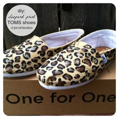 Do you love the look of leopard print? DIY a pair of your own TOMS shoes with this cute leopard print using fabric paint.