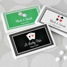 """""""A Lucky Pair"""" Mini Mint Wedding Favor features a white plastic box filled with approximately 35-50 mints.  The label is available with six different Las Vegas themed designs.  The background of the label is available in a variety of colors.  This item can be personalized."""