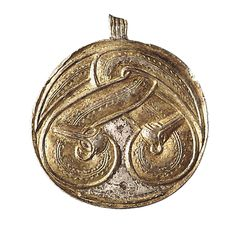 Pendant with serpents. Made in bronze gilded with gold and silver. Dated to 5th century AD. Width 4,5 cm. From Uppåkra, Sweden. (Photography by Bengt Almgren, LUHM)