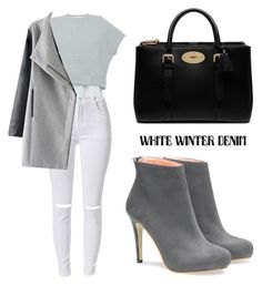 """""""On Trend: Winter White Denim"""" by tania-alves ❤ liked on Polyvore featuring 10 Crosby Derek Lam, Mulberry, women's clothing, women, female, woman, misses, juniors and winterwhite"""