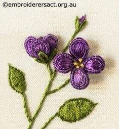 Purple Flowers from Stumpwork Panel with Heartsease and Honesty Seeds by Lorna Loveland